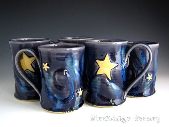Pottery Mug in Midnight Blue with Starry Night Detail - Coffee Mug - by DirtKicker Pottery