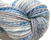 Handspun yarn Cloudy worsted weight  2 ply, 304 yards hand dyed BFL wool  light blue yarn grey gray  yarn knitting supplies crochet supplies