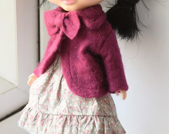 Cute little burgundy bow neck jacket for Blythe doll