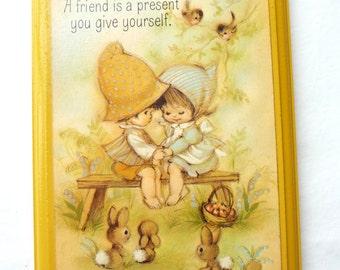 A Friend is a Present, Vintage Springbok Plaque, Hallmark Cards, Vintage Home Decor, Wood Plaque, Yellow Plaque, Wall Hanging, Unique Gift