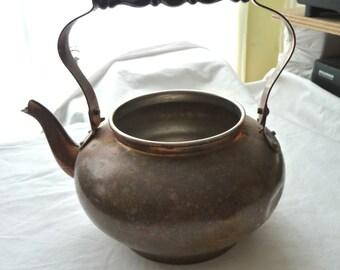 Vintage Copper Teapot, Vintage Metal Teapot, Copper Colored Teapot, Vintage Housewares, Unique Teapot, Black Plastic Handle, Kitchen Decor