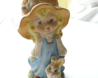 Vintage Ceramic Figurine, Girl with Bunny, Girl in Bonnet, Vintage Home Decor, Glass Figurine, Shabby Decor, Cottage Decor, Childrens Decor