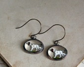 Vintage Hound Reverse Painted 1950s Glass Earrings