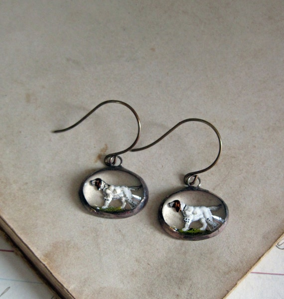 Reverse Painted 1950s Glass Earrings Hound Dog Jewelry