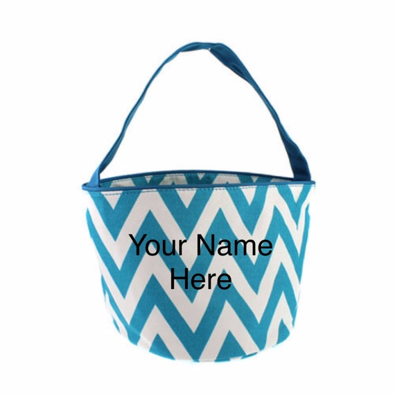 Bucket Tote Personalized Small Turquoise Chevron