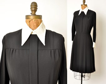 1960s dress / Wednesday Addams / black and white dress / 60s dress .. med