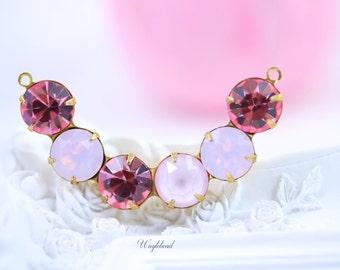 Crescent Crystal Rhinestones Connector Link Pink Pendant 41x8mm Swarovski Crystal Light Rose & Rose Water Opal
