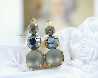 Vintage Glass Dangles Round Set Stones 1 Ring Earring Component 23mm Brass Prong Settings Black Diamond Aquamarine Satin & Frosted Grey - 2