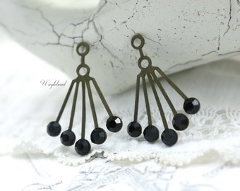 RARE Vintage Art Deco Style Jet Black Swarovski Crystals 30x21mm Brass Dangle Finding Ear Jackets - 2