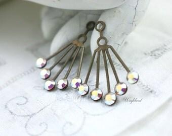 Swarovski Drop RARE Vintage Art Deco Style AB Crystal 30x21mm Brass Dangle Finding Ear Jackets - 2