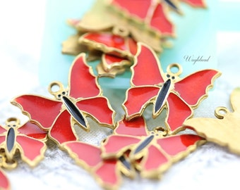 Red Vintage Style Butterflies Charms Pendants - 4