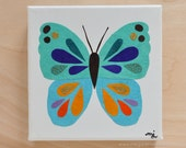 Original Paper Collage on Canvas - Turquoise, Blue & Orange Butterfly - One of a Kind by Megan Jewel