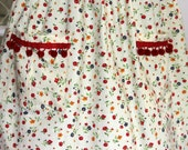 REDUCED PRICE. 1950' s  Styled Gathered Skirt . Vintage fabric with Pom Pom 's