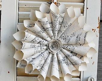 Holiday  Wreath / Petite Sheet Music Wreath Glass Glitter / Hostess Gift / Music Teacher
