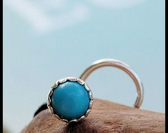 4mm Turquoise Nose Stud Set in Sterling Silver - CUSTOMIZE