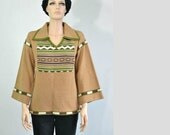 Vintage 70s Hippie Sweater Tribal Bell Sleeves Pullover Sweater small to medium