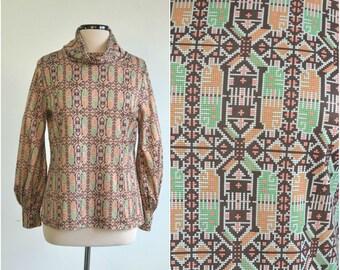 70s Vintage Hippie Shirt Tunic Blouse Top Tribal Ethnic Print - large