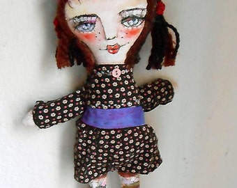 Original Art Doll - Alina with Flower Dress, Hand made OOAK by miliaart studio