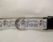 Let it Snow Winter Dog Collar, In M, L, XL Metal or Plastic Buckle