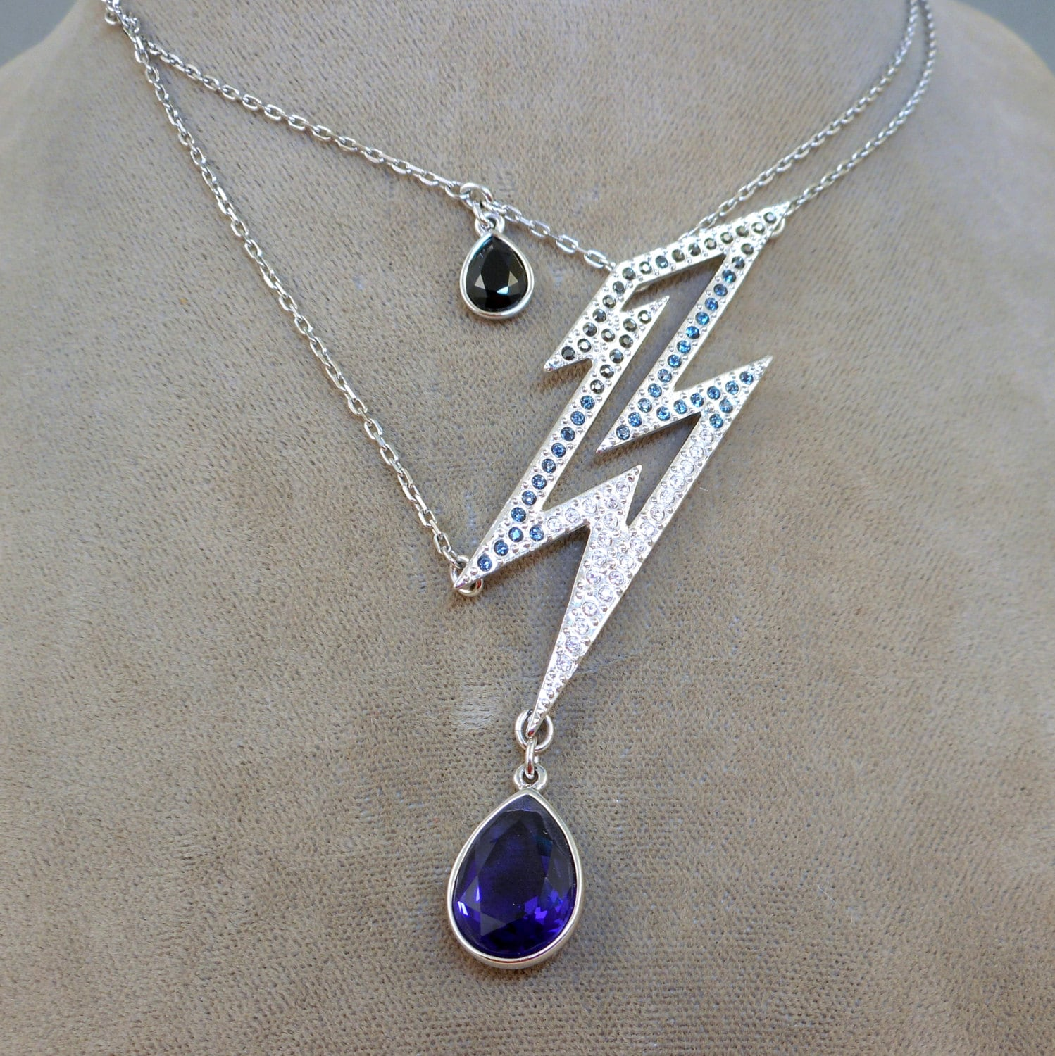 swarovski lightning bolt necklace by antiqueali on etsy