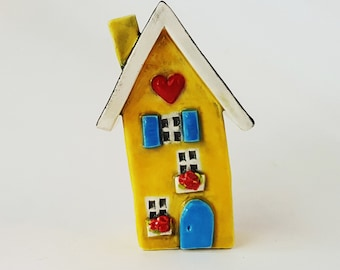 Little Yellow House   Little Clay House   Miniature House   Whimsical house   Ceramic House   Clay House   Yellow Fairy House   Clay Cottage