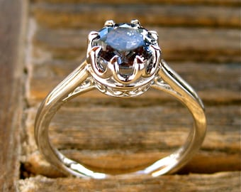 Steel Blue Spinel Engagement Ring in Platinum with Scroll and Basket Style Setting Size 8
