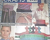 Pattern Cummerbund Bow Tie Belt Silk Wedding Attire McCalls Crafts 8861 Vintage Sewing Sew Handmade 1980s