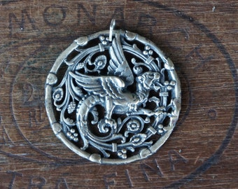 Antique French Wyvern Griffin Pendant Chimera Dragon #2