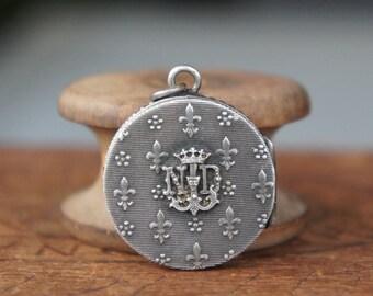 Antique French Lourdes Reliquary Pendant Locket Amulet Talisman