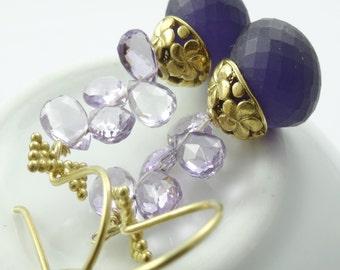 Amethyst Earrings, Purple Topaz Earrings .Frosted Gemstone Statement Earrings By Prisha Jewels