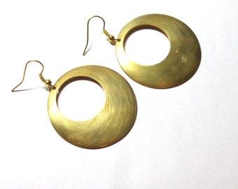 Earrings, Golden Antiqued Brass, Art Deco Earrings, Gift Earrings, Brass Earrings