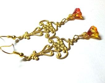 Earrings, Golden Antiqued Brass, Art Deco Earrings, Czech Glass Flowers, Gift Earrings