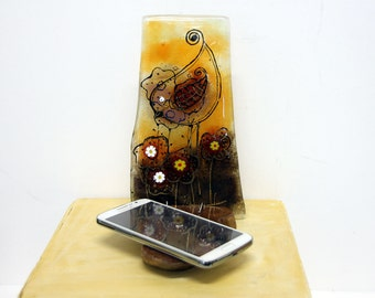 iphone stand, wood Android stand, fused glass cell phone stand, bird flowers phone stand
