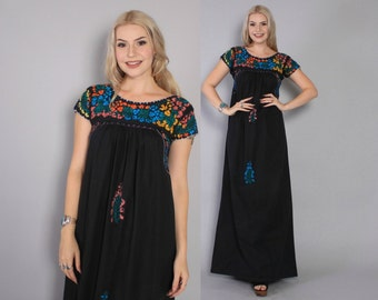 Vintage 70s OAXACAN DRESS / 1970s Embroidered Black Boho MEXICAN Festival Maxi Dress