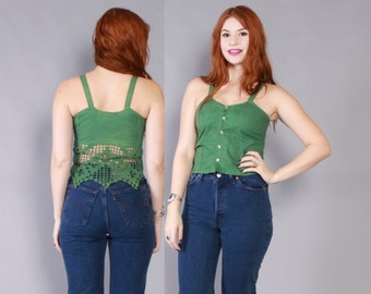 Vintage 90s CROP TOP / 1990s Cropped Green Cotton Crochet Back Sleeveless Tank
