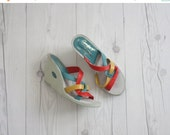 HALF OFF SHOES 1970s rainbow wedges