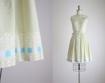 CLEARANCE 1950s sage gingham dress
