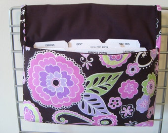 Fabric Coupon Organizer /Budget Organizer Holder- Attaches to Your Shopping Cart- BOHO BLOSSOM