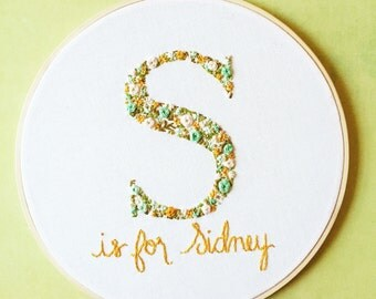 Monogram Wall Decor, Floral Monogram Nursery Art. Baby Shower Gift. Embroidery Hoop Art. Nursery Decor. Flower Hand Embroidery by KimArt.