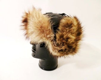 Chic Vintage Brown Leather and Natural Fur Ear Flap Cap