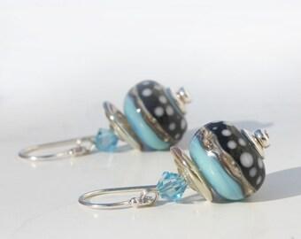 Lampwork Earrings, Blue Aqua Turquoise, Black with White Polka Dots, Glass Earrings, Dangle Earrings, Swarovski Beads