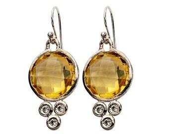 Sterling Silver earrings / earrings for women / dangle earrings Lemon Quartz  and cz zirconia
