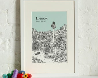 Personalised Liverpool Print | Custom Wedding Gift | Unique Anniversary Gift | Liverpool Picture |  Framed Print | Valentines Day Gift