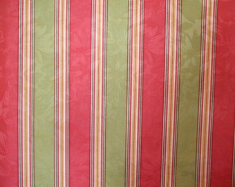 Raymond Waites-Pisa Bright Coral and Green Stripe Drapery Fabric, Upholstery Fabric
