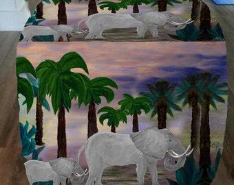 Tropical Elephant walk cube ottoman from my art