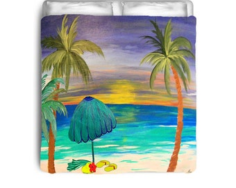 At the Beach Duvet Cover from my art. Available in twin,queen and king sizes