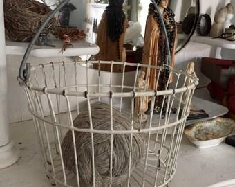 Antique Metal Egg Basket on HOLD 2 hours large size