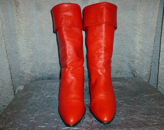 Vintage 1980's - Red - Slouchy - Fold Over - Mod - Pirate - Boots - marked size 6 1/2 medium