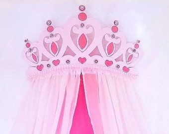 Glittered Pink Princess Heart Bed Crown Canopy... Hot Pink Pearls Light Pink : hot pink canopy - memphite.com