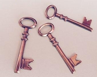 Steampunk Skeleton Key Charm Antiqued Brass